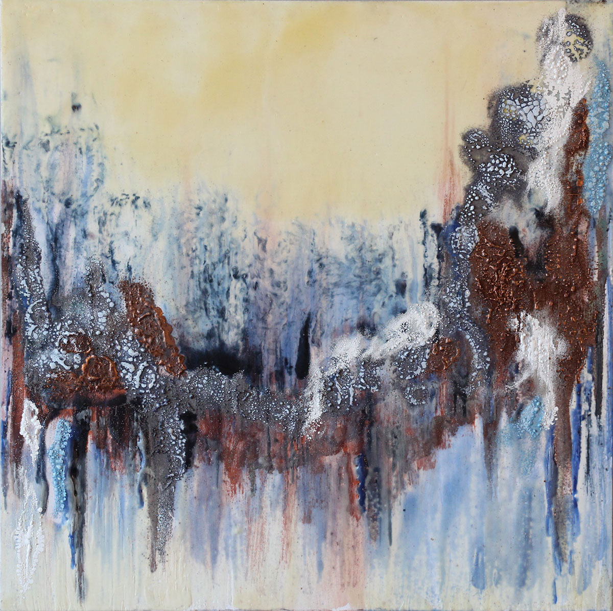 """""""All that remains"""" Encaustic on museum board Size: 16""""x16"""""""