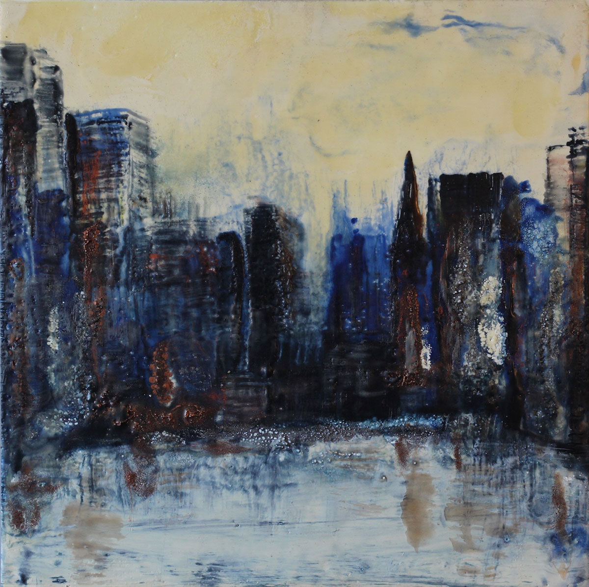 """""""City"""" Encaustic on museum board Size:"""