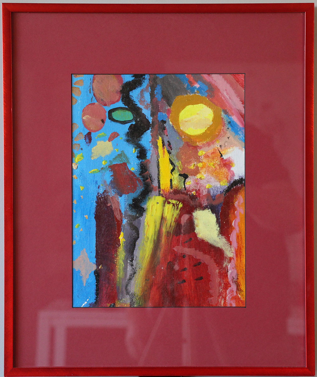 """""""Playful in Red"""" Size: 18""""x15"""""""