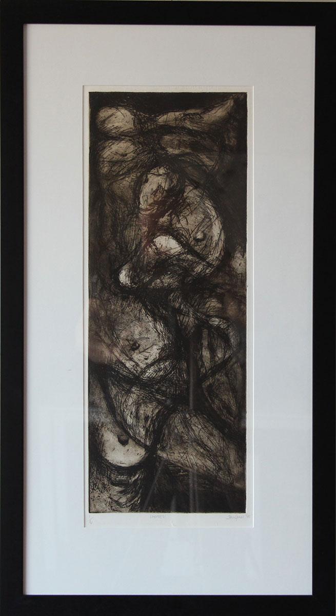 """Kindness"" Intaglio print framed Size: 19""x34"""