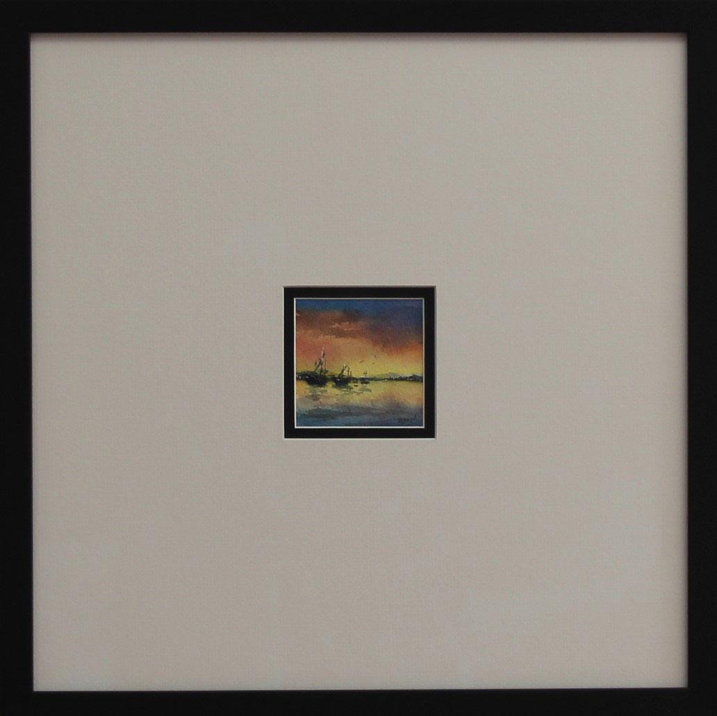 """Sunset Dream"" Watercolour framed Size: 25""x25"""