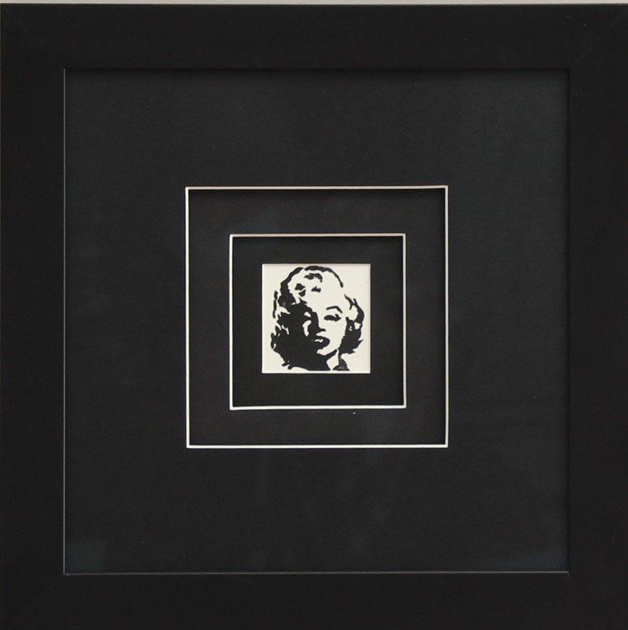 """""""MM IV""""black Linocut Framed Size: 15""""x14"""""""