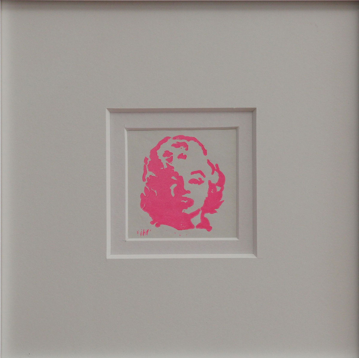 """MM ""Pink Linocut Framed Size: 11""x11"""