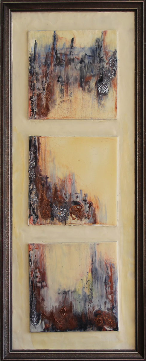 """""""Sonata"""" Encaustic mix on 3 museum board's Framed Size: 13""""x32"""""""